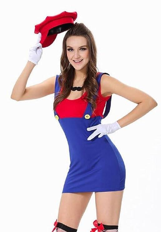 New Ladies 6 piezas Rojo y azul. Disfraz de super mario disfraz ...