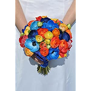 Summery Wedding Bouquet with Colourful Anemones and Ranunculus 22