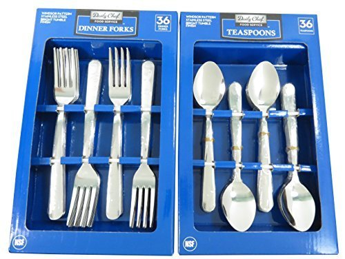 Daily Chef Dinner Forks and Tea Spoons Flatware - 72 Pieces Windsor Pattern
