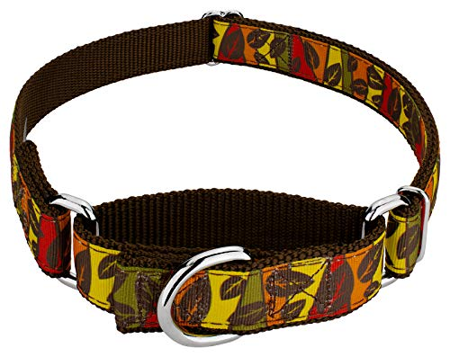 Country Brook Design Fall Leaves on Brown Ribbon Martingale Dog Collar - Large