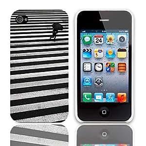 Caminando patrón duro caso con paquete de 3 protectores de pantalla para iPhone 4/4S