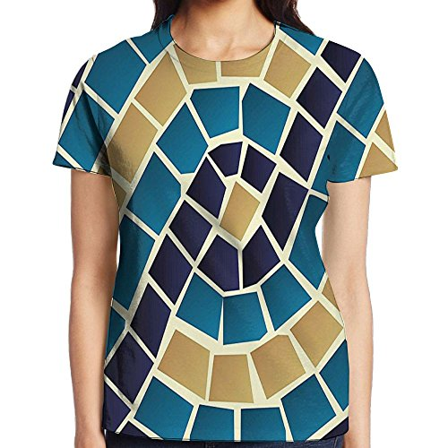 WuLion Geometric Design Mosaic Like Squared Detailed Antique Women's 3D Print T Shirt L White (Picture Frame Necklace Digital)