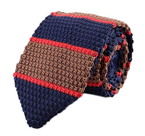 Secdtie Men Wide Stripe Navy Red Brown Fashion Tie Stylish Necktie For Groom 003