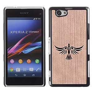 // MECELL CITY PRESENT // Cool Funda Cubierta Madera de cereza Duro PC Teléfono Estuche / Hard Case for Xperia Z1 Compact D5503 /// Phoenix Fire Bird Artistic Minimalist ///