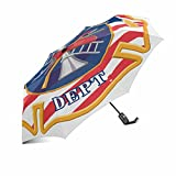 InterestPrint Firefighter Symbol Logo Firefighter Cross with Firefighters Tools Windproof Compact One Hand Auto Open and Close Folding Umbrella, Rain & Outdoor Unbreakable Travel Umbrella