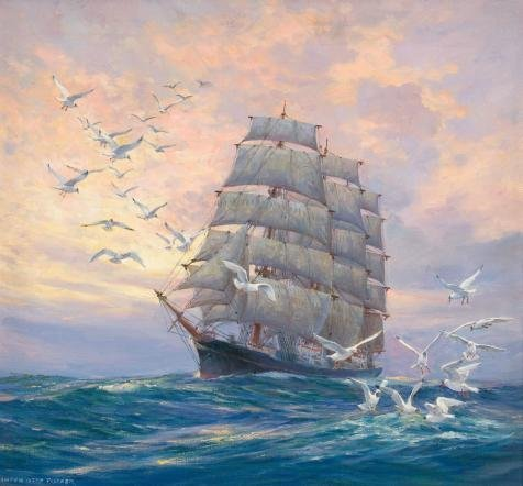Perfect Effect Canvas ,the Reproductions Art Decorative Prints On Canvas Of Oil Painting 'Seascape Of A Sailing Ship And Sea Gulls', 8x9 Inch / 20x22 Cm Is Best For Dining Room Decor And Home Decoration And Gifts (Star Girl Canvas Reproduction)
