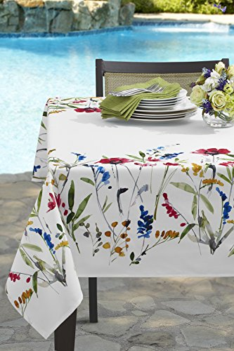 "Benson Mills Wild Flower Indoor/Outdoor Spillproof Tablecloth (60"" X 84"" Rectangular) - Colored Flower design on white background All liquids, even wine, bead up can be quickly wiped clean with a sponge or napkin Perfect for everyday use - tablecloths, kitchen-dining-room-table-linens, kitchen-dining-room - 518%2B6ZaoTlL -"