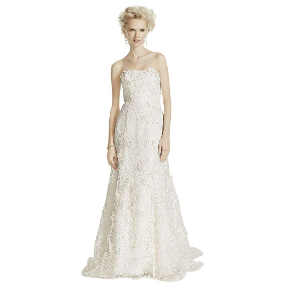Oleg Cassini Subtle Pink 3d Floral Wedding Dress Style Cwg464 At