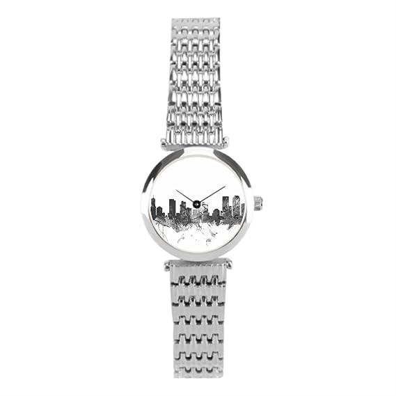 winlighting Mujer la silueta de Denver Skyline relojes de acero inoxidable plata: Amazon.es: Relojes
