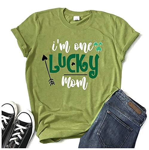 - Women I'm One Lucky Mom Clover ST Patrick's Day Short Sleeve Shamrock Shirt Baseball Tee Tops
