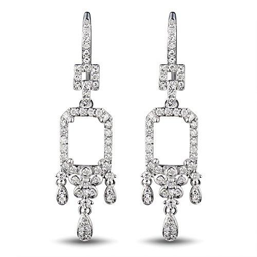 (14K White Gold Women's Bridal Oval 7X8mm Round Natural Diamond Semi mount ring set no center stone)