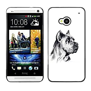 Vortex Accessory Carcasa Protectora Para HTC ONE ( M7 ) - German Mastiff Art Black White Dog -