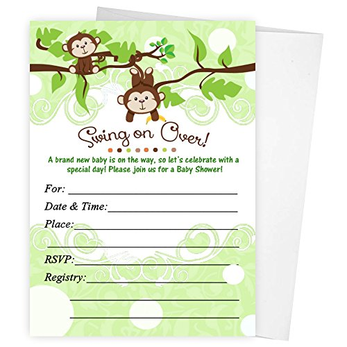Jungle Baby Shower Invitations Qty of 20 with envelopes