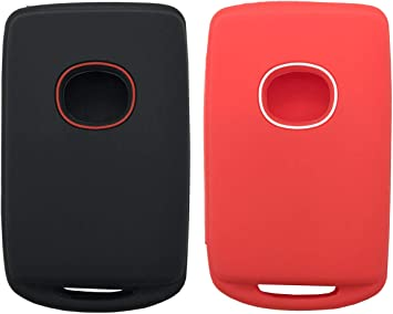 1 Black with Red + 1 Black with White 2Pcs Smart Key Fob Cover Case Protector Fit for 2019 2020 Mazda 3 WAZSKE11D01 Keyless Entry Remote Fob Skin Jacket Bag Holder