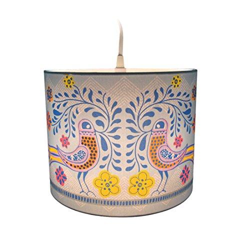 Glass Pendant Light Childrens (Molly 'n Me Birds in Bloom Drum Shade Pendant Lamp)