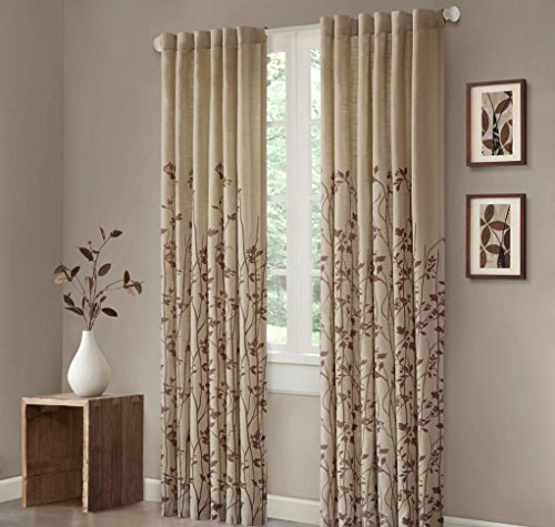 1pc Girls 84 Safari Brown Weeping Flowers Curtain Single Panel, Light Tan Color Drape Floral Pattern Motif Window Treatments, Leaf Swirl Design Natural Nursery Kids Themed Teen, Polyester