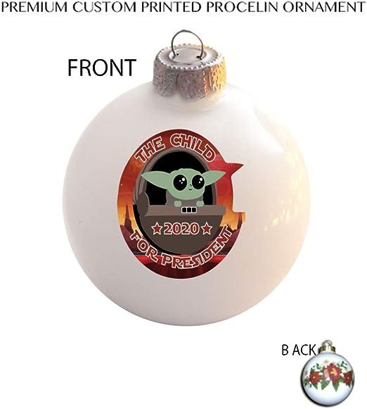 Presdential Christmas Ornemnet 2020 Amazon.com: The Child For President 2020 Ceramic Ball Poinsettia