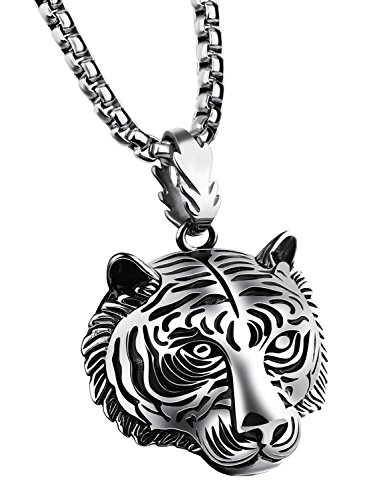 - PAMTIER Men's Stainless Steel Solid Tiger Head Pendant Chain Necklace Silver