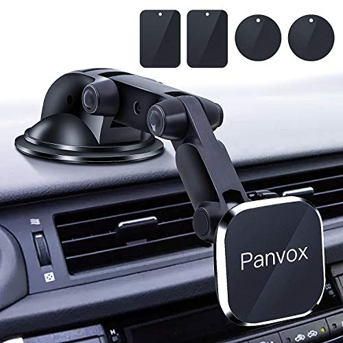 Magnetic Phone Car Mount, Panvox Universal Dashboard Windshield Car Phone Mount Holder with Upgraded 3.2 Suction Cup,8 Strong Magnets Compatible with iPhone 11 Pro X XS Max XR Galaxy Note10 S10
