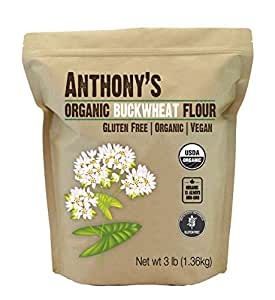 Anthony's Organic Buckwheat Flour (3lb), Grown in USA, Gluten Free, Vegan