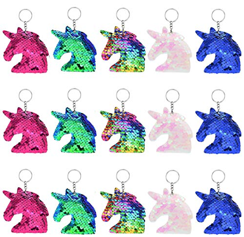 15 Pieces Sequin Unicorn Keychains Flip Glitter Unicorn Key Chain for Handbag Purse Party Embellishment Birthday Party Favor Supplies Gifts Decorations for Kids Girls