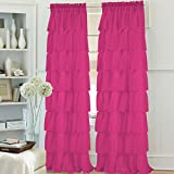 Hot Pink and Lime Green Shower Curtain 2pcs Gypsy Ruffled Full Stitched Curtain Panel Drape Window Treatment or Shower Curtain(only 1 curtain for shower) in 22 Colors & 4 Different Sizes (95