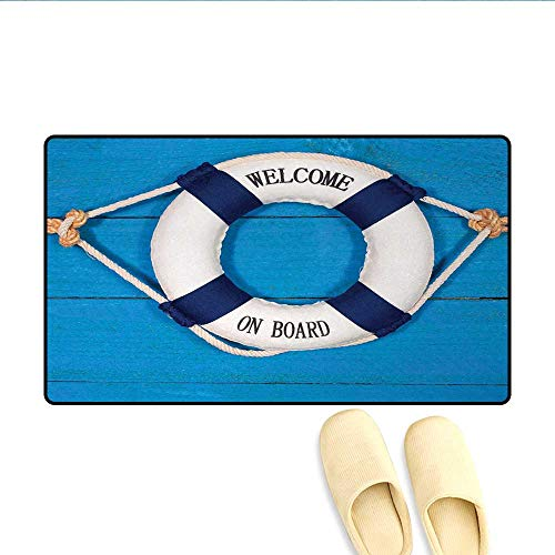 Door-mat,Welcome on Board Sign on Painted Timber Wall Life Buoy Tightened with Rope,Bath Mats for Floors,Blue Navy Blue White,Size:32