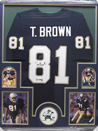 (Tim Brown Signed Photo - Jersey Framed w Photos CoA - JSA Certified - Autographed College Photos)
