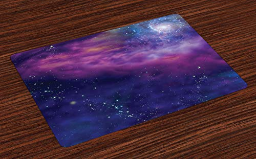 Ambesonne Outer Space Place Mats Set of 4, Ancient Dim Star Clusters Milky Way Inspired Circle Back with Solar Elements, Washable Fabric Placemats for Dining Room Kitchen Table Decor, Purple Blue ()