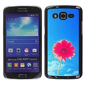 FlareStar Colour Printing Sun Summer Flower Pink Sky Blue Pretty cáscara Funda Case Caso de plástico para Samsung Galaxy Grand 2 II / SM-G7102 / SM-G7105