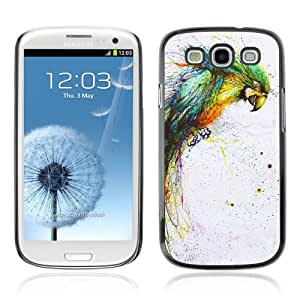 Designer Depo Hard Protection Case for Samsung Galaxy S3 / Color Splatter Color Parrot