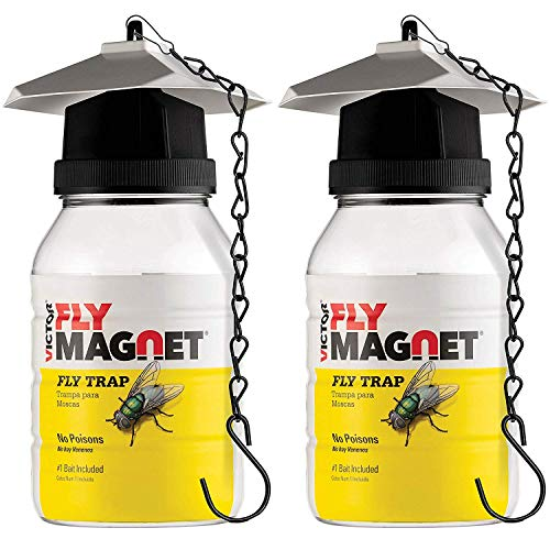 affordable Victor M380 Set of 2 Reusable outdoor Fly Traps 32 oz - Fly Magnet Bait Trap - Bundled with 4 Bait Refills of Victor M383 And 2 SEWANTA Hanging Chains (Set of 8)