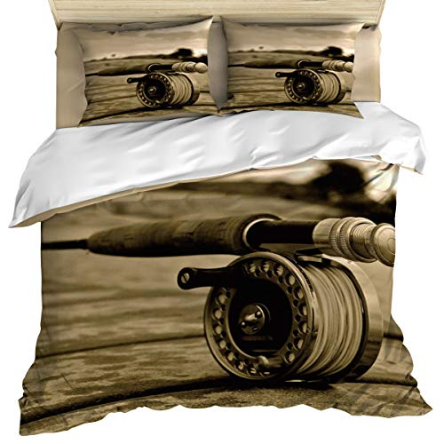 wanxinfu Bedding Set Includes 1 Bed Sheet 1 Duvet Cover 2 Pillow Cases Twin Size Fishing Rod 4 Pcs Duvet Cover Set Quilt Cover Suitable for Adults