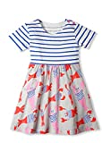 Jobakids Girls Dresses Short Sleeve Summer Cotton Striped Cute Print Pattern Casual Dress for Toddler(3T/3-4YRS,Lobster)