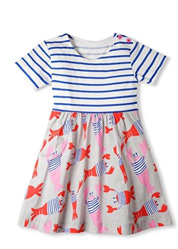 Jobakids Girls Dresses Short Sleeve Summer Cotton Striped Cute Print Pattern Casual Dress for Toddler(5T/5-6YRS,Lobster) ()