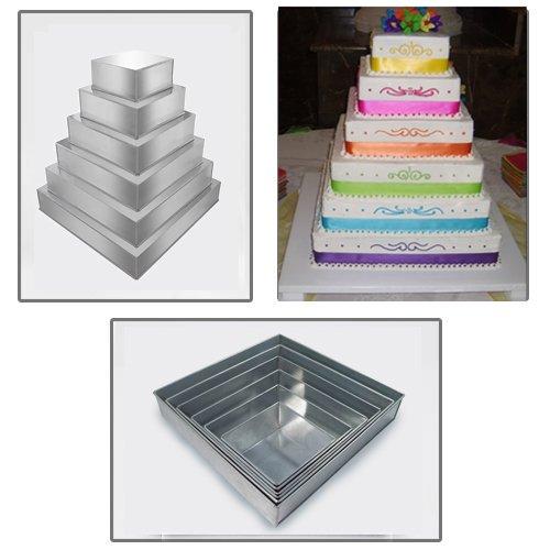 1 X 6 Tier Square Multilayer Wedding birthday Anniversary Cake Baking Tins - Cake Pans - Cake Tins
