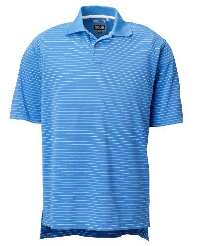 (adidas Golf Men's ClimaLite Tech Pencil Stripe Polo, True Blue/White,)