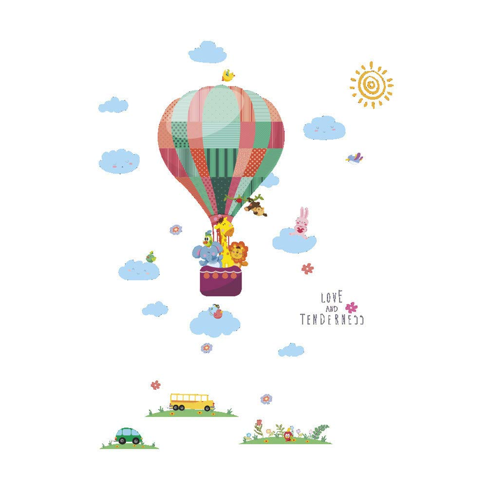 Wall Stickers Clearance SFE Grass Hot Air Balloon Animal Painting BedroomLiving Room Decoration Wall (Mulitcolor)
