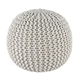 Spura Home Gum Drop 100% Cotton Knitted Pouf, 22.5'', White