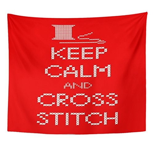 Emvency Tapestry Needle and Thread Keep Calm Cross Stitch Sampler White Home Decor Wall Hanging for Living Room Bedroom Dorm 50x60 Inches ()