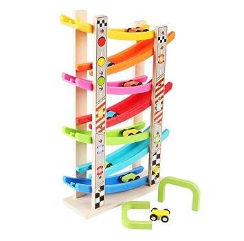 Amazon.com: Juego de juguetes de madera con 7 lanes de rampa ...