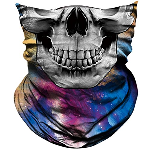 AXBXCX Skull Skeleton Outdoor Face Mask Bandana Neck Gaiter - Microfiber Polyester Seamless Headwear Dust Music Festivals Raves Ski Motorcycle Snowboard Hiking Halloween Party Cosplay Ghost Mask 033 ()