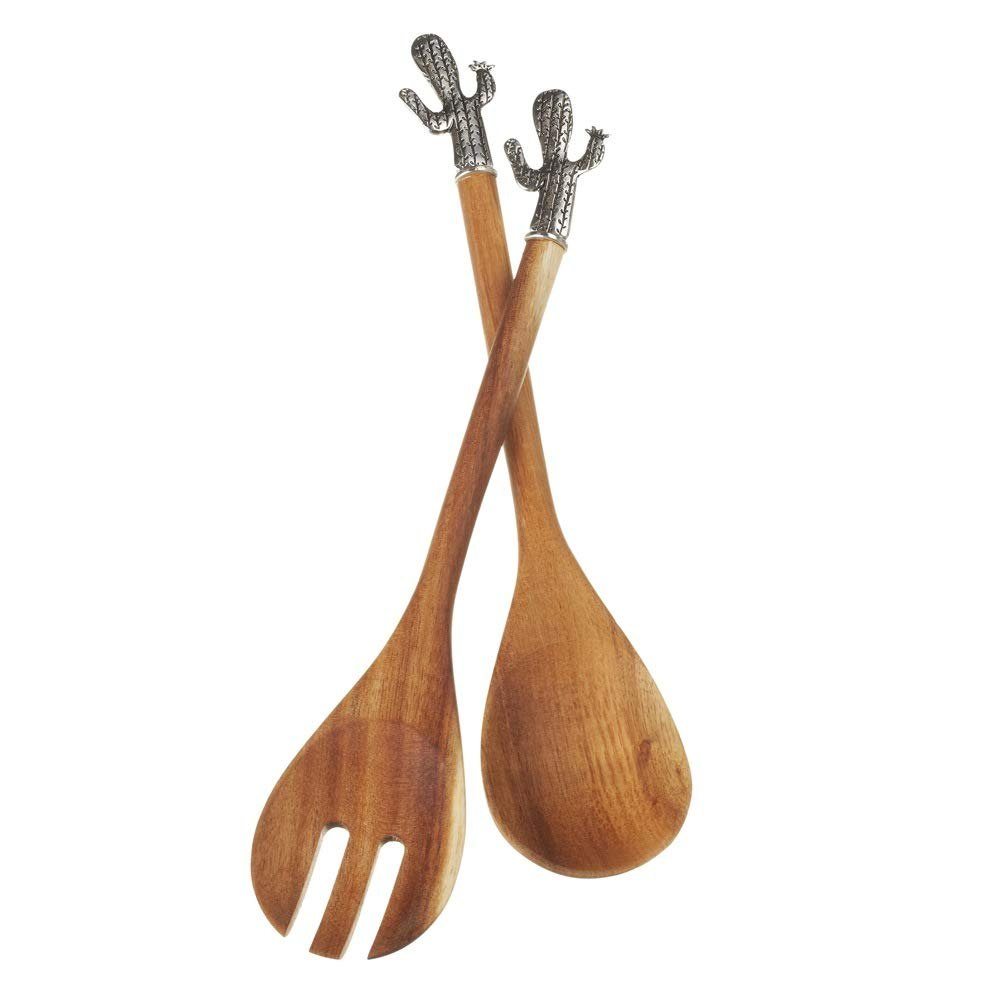 Set of 2 Brown and Silver Outdoor Food Safe Cactus Salad Servers 12.5''