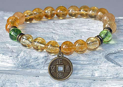 Lucky Coin, Money and Abundance, Citrine & Peridot Gemstone Bracelet, Good Luck Fortune Bracelet, Chakra Balance Healing Mala Bracelet,
