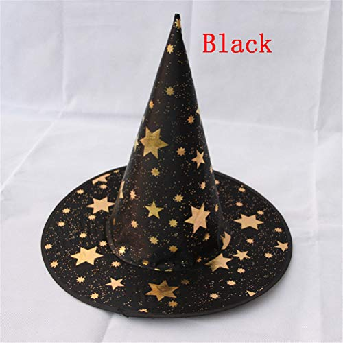 Hat Bucket - Witch Hats Star Masquerade Wizard Hat Party Cosplay Costume Halloween Fancy Dress Decor - Dinosaur Yellow Colors Circus Elastic Silver Party Unicorn Variety Adults Glitter Bab]()
