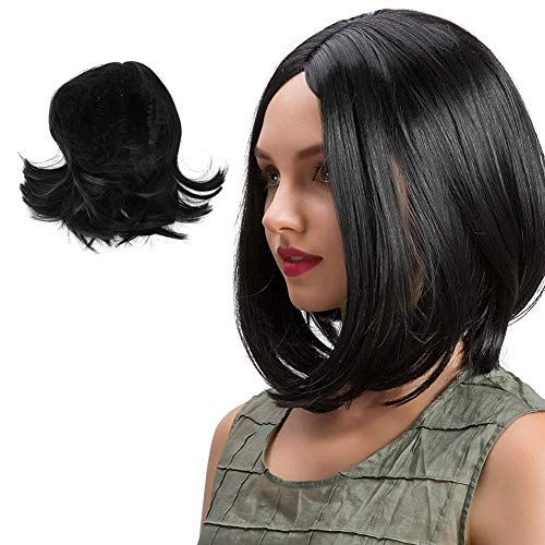 Women's Black Short Fashion Natural Straight Wigs Cosplay Party Halloween Heat Resist Costume Wigs for Fancy Dress -
