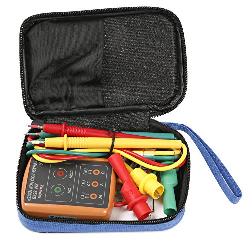 3 Phase Rotation Meter (Atoplee 3 Phase Sequence Presence Rotation Tester Indicator Detector Meter with LED and Buzzer 60V~600V (3 Phase AC))
