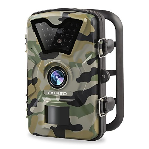 AKASO 12MP Trail Camera Night Vision 1080P Hunting Camera 120 Degree Wide Angle Game Camera with 2.4 inch LCD- IP66 Waterproof and Dustproof
