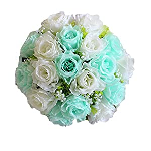 Transer 18Head Artificial Silk Roses Flowers Bridal Bouquet Rose Home Wedding Decor (G, Multicolor) 58