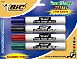 BIC Great Erase BOLD Dry Erase Marker, Tank Style, Chisel Tip, Assorted Colors, 4-Count
